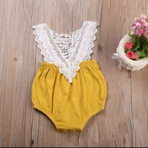 Other - Sale!!! Baby girl yellow & white crochet romper